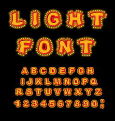 Light font retro alphabet with lamps glowing vector