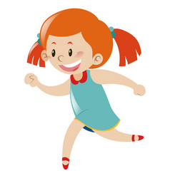 little girl in blue dress running vector image