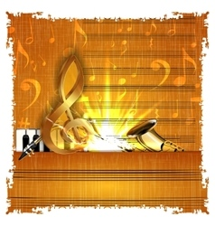 music with a gold treble clef piano and saxophone vector image