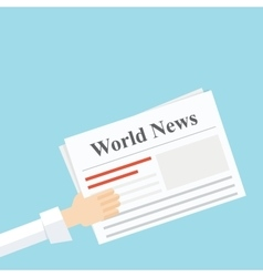 news newspaper in his hand vector image