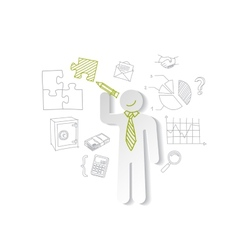 Paper man puzzles and business graphics Marketing vector image