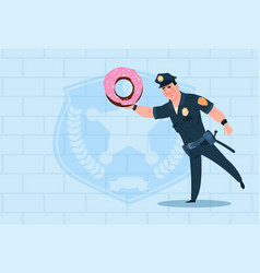 Policeman hold donut wearing uniform cop guard vector