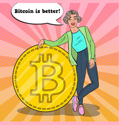 Pop art successful woman with big golden bitcoin vector