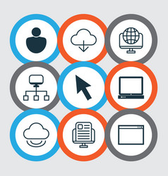 Set of 9 world wide web icons includes blog page vector