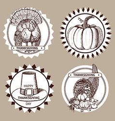 Sketch Thanksgiving set of labels vector image