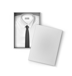 White classic men shirt with tie in packaging box vector image vector image