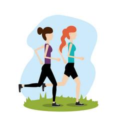 Women healthy lifestyle to do exercise vector