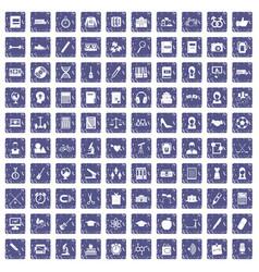 100 hi-school icons set grunge sapphire vector
