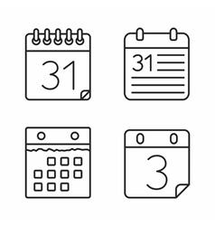 Calendar Line Icons vector image