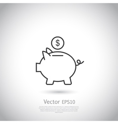 Piggy bank and dollar coin icon vector