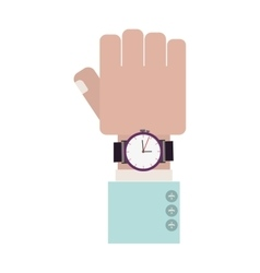 Closed hand with formal sleeve and watch vector
