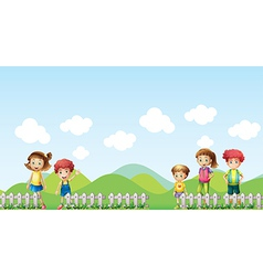 Five children in the farm vector