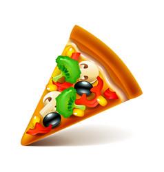 Vegetarian pizza slice isolated on white vector