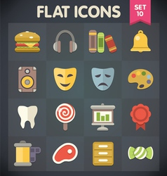 Universal flat icons for applications set 10 vector