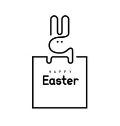 Easter bunny single line vector