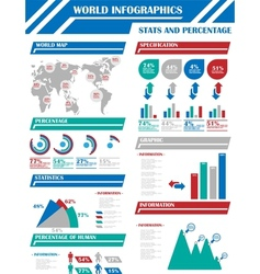 Infographic demographics 9 blue vector