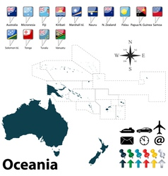 Political map of oceania vector