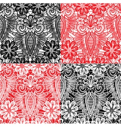 Set of Lace seamless patterns with flowers vector image