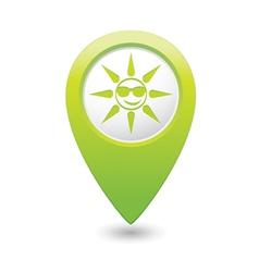 sun symbol green map pointer vector image