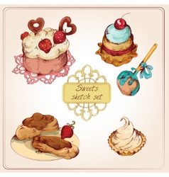 Sweets colored set vector