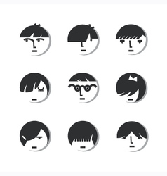 Boys and girls head icons vector
