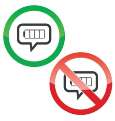 Empty battery message permission signs vector