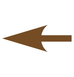 Sharp left arrow flat brown color icon vector