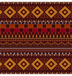 Tribal ethnic seamless pattern on brown background vector image