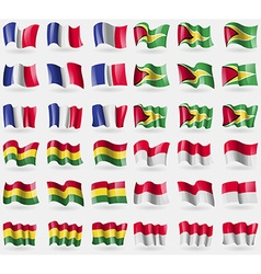 France hayana bolivia monaco set of 36 flags of vector