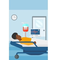 Patient lying in hospital bed vector