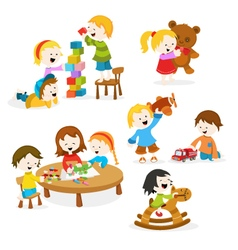 Kids playing with toys vector