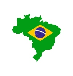 Map of brazil with the image of the national flag vector