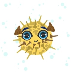 Porcupine fish drawing vector