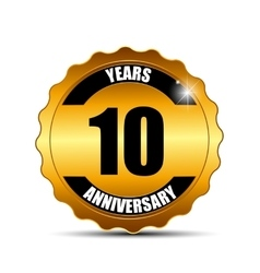 Anniversary gild label sign template vector