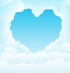 Beautiful blue sky with some romantic heart shaped vector