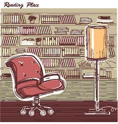 Interior reading room color hand draw sketchy vector