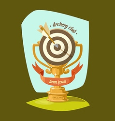 Archery club golden cup vector
