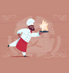 African american chef cook hold star award smiling vector