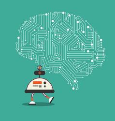 Ai robot with brain mechanism design vector