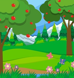 Apple trees in the orchard vector