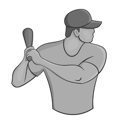 Baseball player icon black monochrome style vector