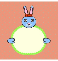 Blue bunny holding banner card in paws Birthday vector image vector image