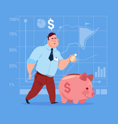 Business man put coin piggy bank money investment vector