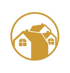 Circular group house gold logo vector