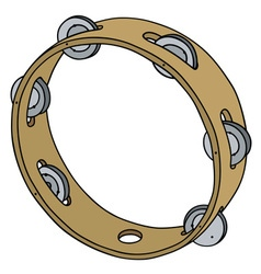 Classic wooden tambourine vector