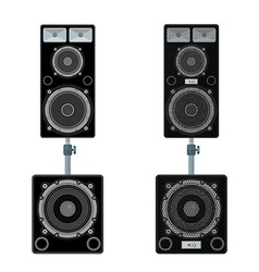 Color flat style loudspeakers stand subwoofer pair vector
