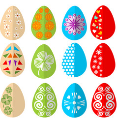 easter colored eggs design set in modern flat vector image vector image