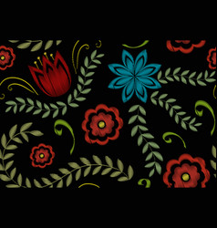 embroidery trendy floral seamless pattern flowers vector image vector image