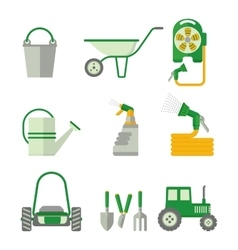 Farmer set of gardner equipment vector