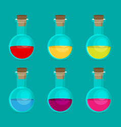 Flat chemical icon with background vector